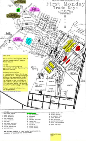 Map of Canton Trade Days | Bud Kennedy says First Monday Trade Days is the best known flea market ...
