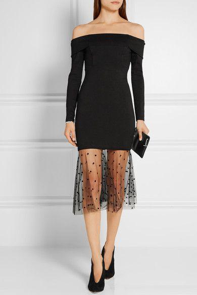 Michelle Mason | Schulterfreies Kleid aus Stretch-Jersey mit beflocktem Tüllbesatz | NET-A-PORTER.COM