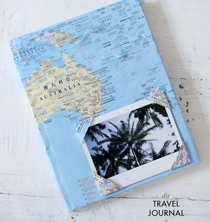 cadeau f6ete des pères à fabriquer, carnet de voyage customisé, couverture customisé de [a[ier carte géographique, photo paysage exotique