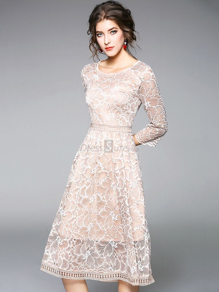 3478cdc73c23a9 Elegant Lace O-Neck 3/4 Sleeve Fit & Flare Dress in 2019 | Beauty ...