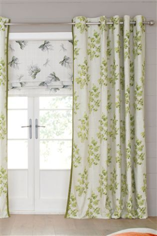 Buy Green Country Sprig Print Eyelet Curtains from the Next UK online shop