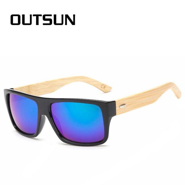 bd5b9bc7652fb Get Cheap  6.99, Buy OUTSUN Wooden Sunglasses Environmentally New fashion  Men Women Glass Bamboo