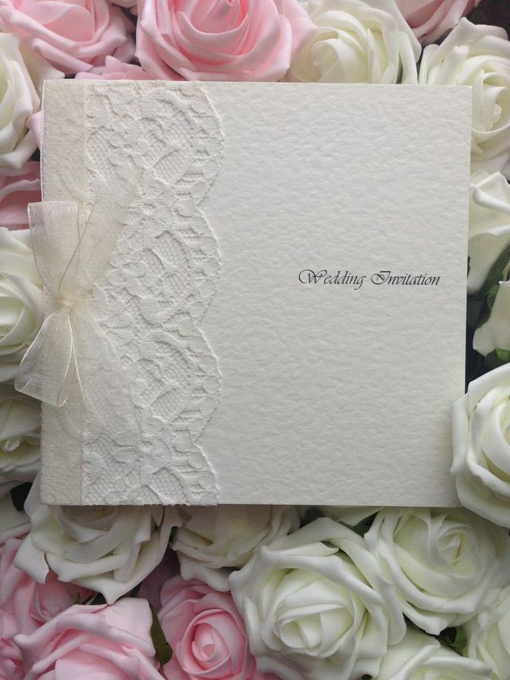 marriage invitation sms on mobile%0A     Handmade Personalised Wedding Invitations  Square Card Lace  u     Ribbon  Panel