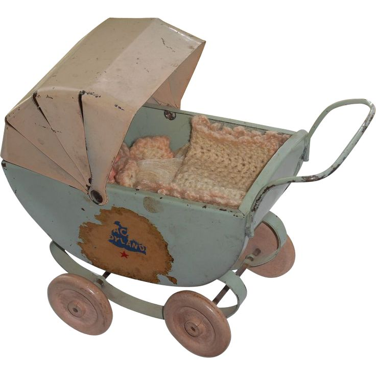 Vintage Tiny Tin Doll Carriage With Miniature Baby Doll