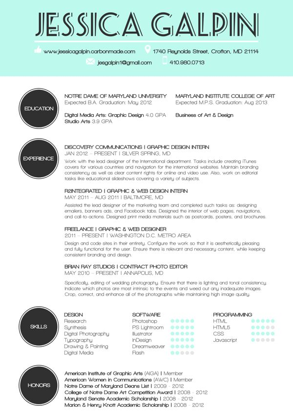 Best Graphic Design Resume Design Images On   Resume
