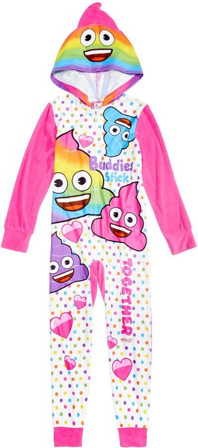 1af285258 Emoji Hooded Pajamas, Little Girls (4-6X) & Big Girls (7-16 ...