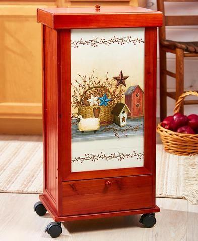 rolling trash bin with storage drawer country sunflower or wine rh pinterest com