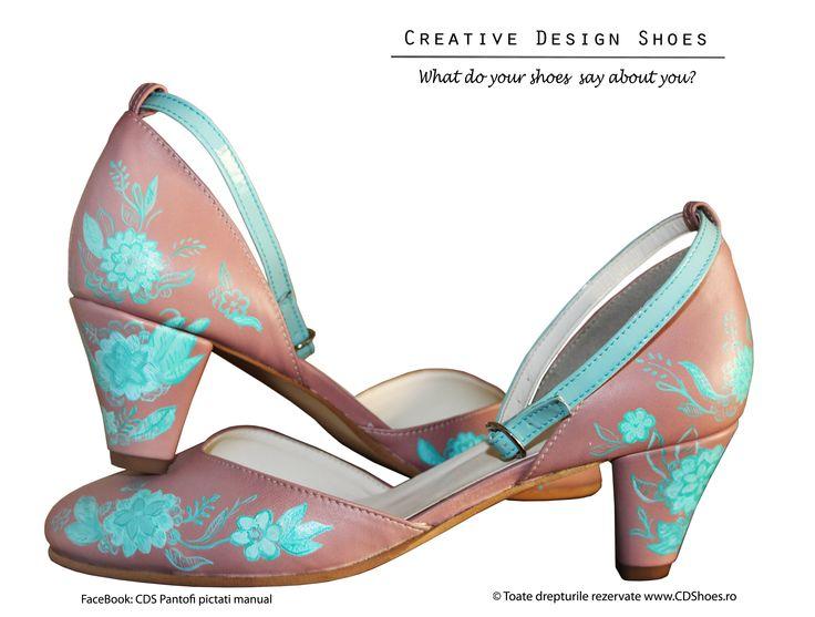 Happy Blue Flowers - Pantofi pictați manual