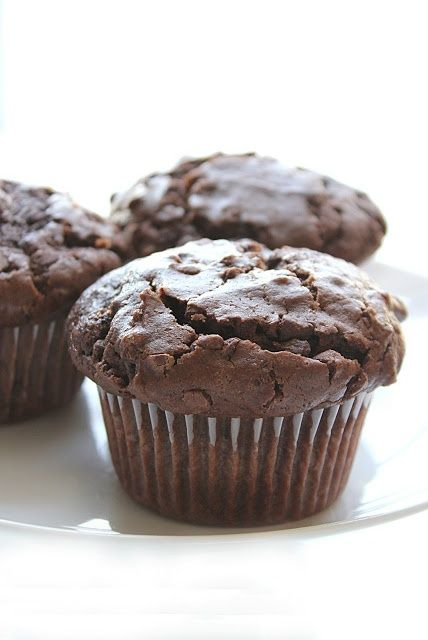 Moist, bakery-style double chocolate muffins! These are SO good! I honestly don't think I have ever eaten a better chocolate muffin!