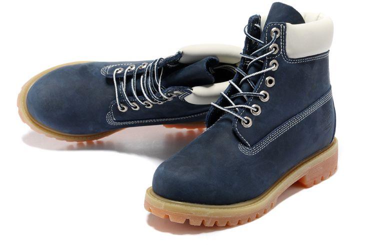 Barato Timberland Hombres Botas - Timberland 6 Inch Botas Azul Oscuro Negro