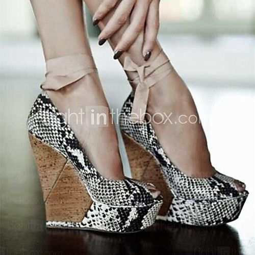 Women's Shoes Peep Toe Wedge Heel Sandals Shoes - USD $59.99