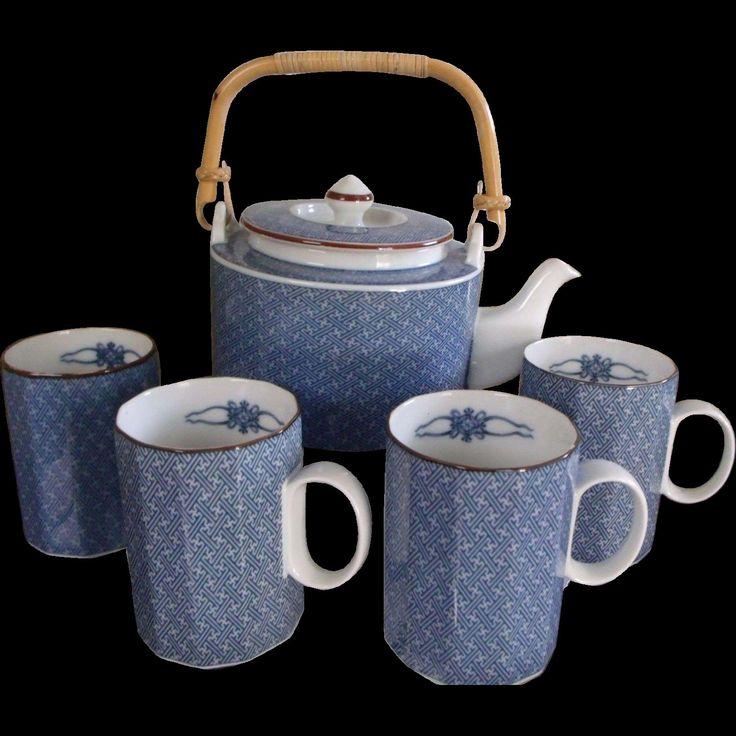 Scarce Ajiro Fitz and Floyd Tea Set / Hot Chocolate Set - Minty Pot w/ & 15 best Asian Dinnerware / China ~ Oriental Dinnerware China ...