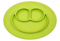 """Some kids just can't handle the responsibility of a full plate of food in front of them! For those """"accident"""" prone kids, the ezpz happy mat is the answer. New moms and veterans alike swear by this one-piece placemat/plate combo. This toddler and baby suction plate is made of food grade silicone material and adheres to tables to prevent kids from knocking over their plates. Works against even the toughest of tantrums! Three separate compartments guarantee plenty of options"""