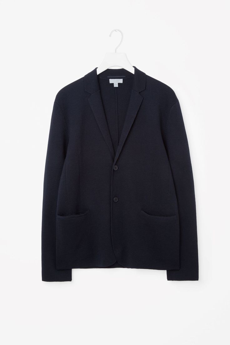COS image 4 of Milano knitted blazer in Navy