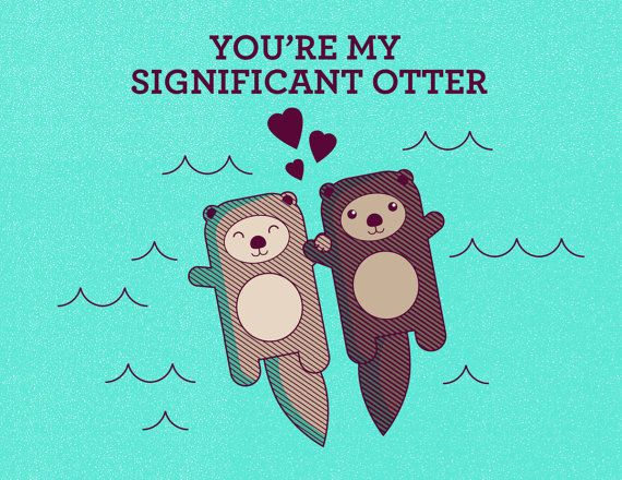 Significant Otter Illustration Art Print  Otters by TinyBeeArt