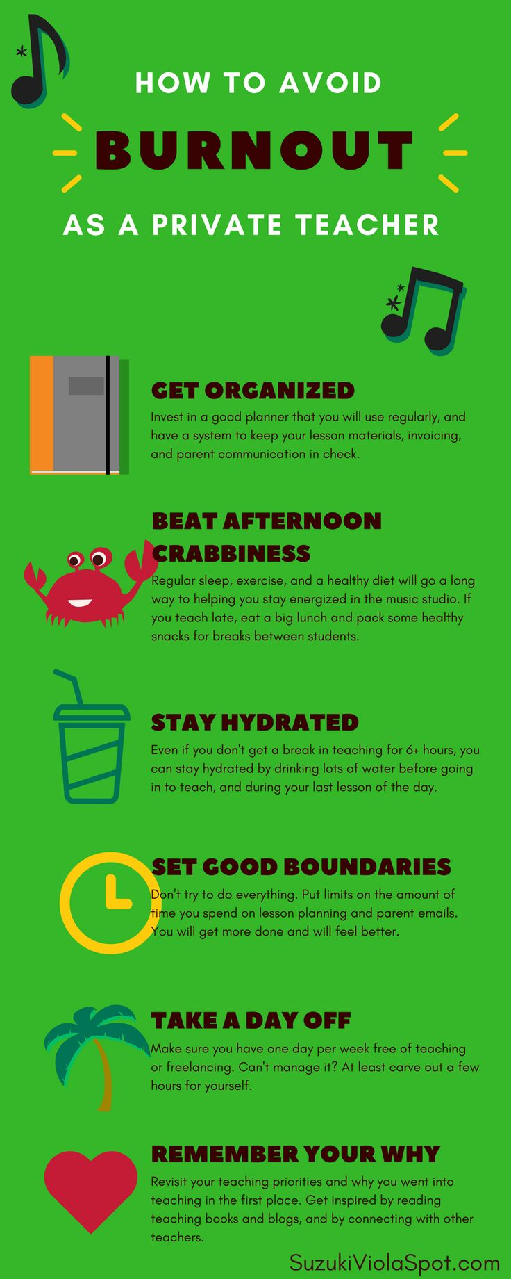 Private teachers work hard! Remember to take care of yourself with these tips to stay energized through a long teaching day.