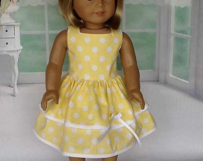 Doll clothes-fits Baby Alive//Baby Doll-Dress-Yellow White  Dots