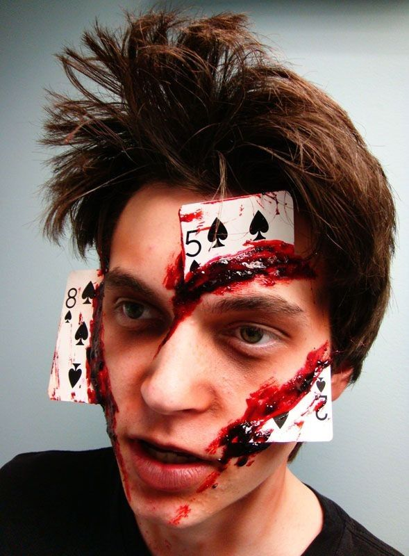 2014 Spooky Halloween joker man face makeup with bloody broken playing card in face #2014 #Halloween