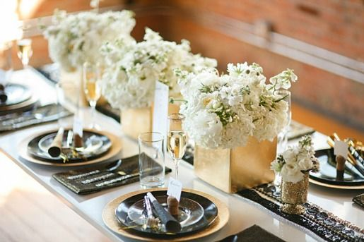 Black White and Gold Tablescape   Floral design by Posh ...
