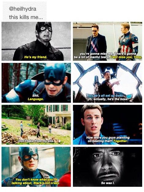 """""""He's my friend."""" """"So was I."""" Sorry Tony- bucky's his bff ride or die- no topping it I'm afraid"""