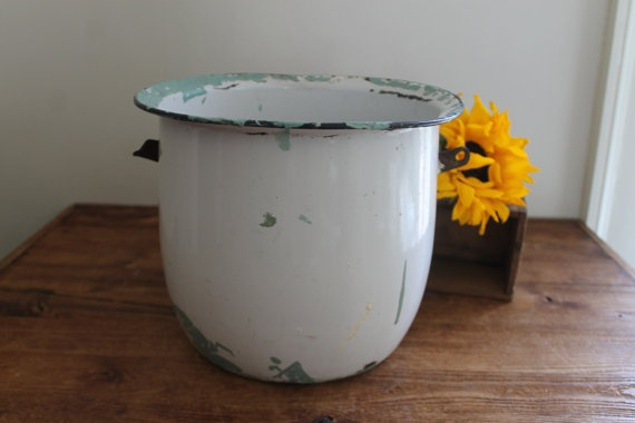 Vintage Enamelware White with Black Trim Pot by SouthernVintageGa,  sold
