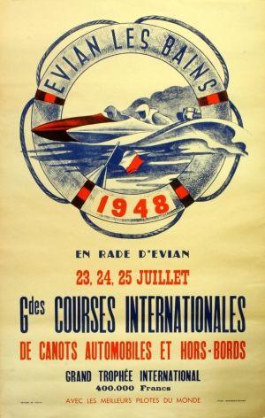 Speed Boats, Grand Prix 1948 - original vintage poster listed on AntikBar.co.uk