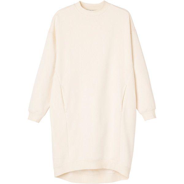 Monki Sanna sweat dress ($44) ❤ liked on Polyvore featuring dresses, tops, ivory stone, sweater dress, winter white dress, pink sweater dress, monki and pink dress