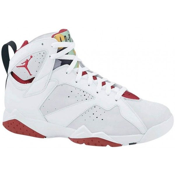 Air Jordan 7 Retro White/True Red-Light Silver-Tourmaline ❤ liked on