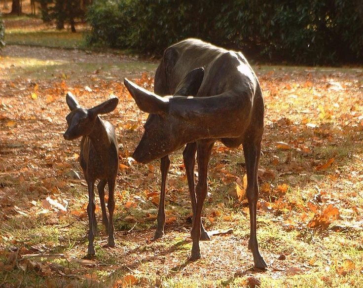 Roe Deer and Fawn. A private commission, part of a garden design.