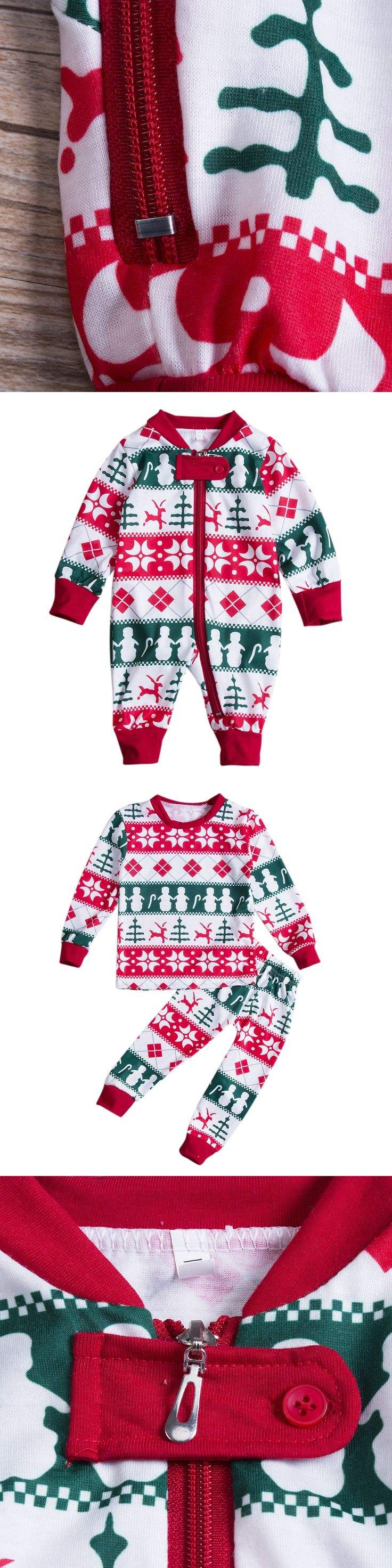Family Matching Christmas Pajamas Set Men's Women Baby Kids Deer Cartoon Pattern Sleepwear Nightwear Soft Cotton