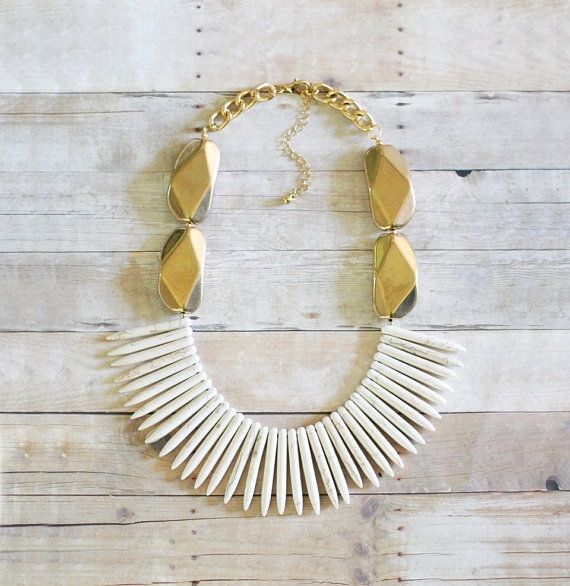Gold and Ivory Spike Statement Necklace Spike by ShopNestled