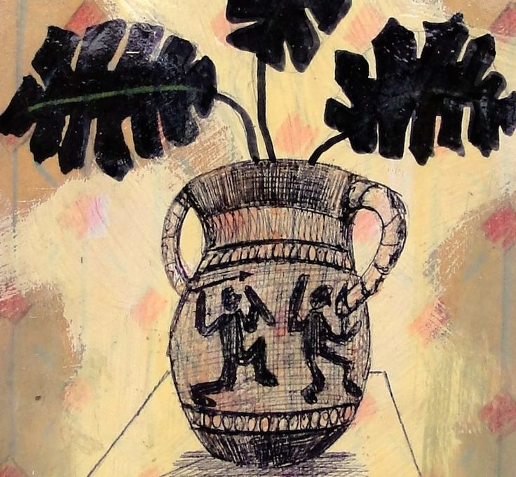Oak leaves in ancient Greek vase, drawing.