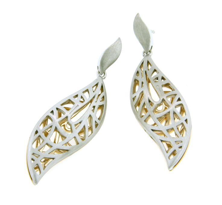 Great contemporary Breuning sterling silver and yellow gold earrings now available at Keswick Jewelers in Arlington Heights, IL, www.keswickjewelers.com