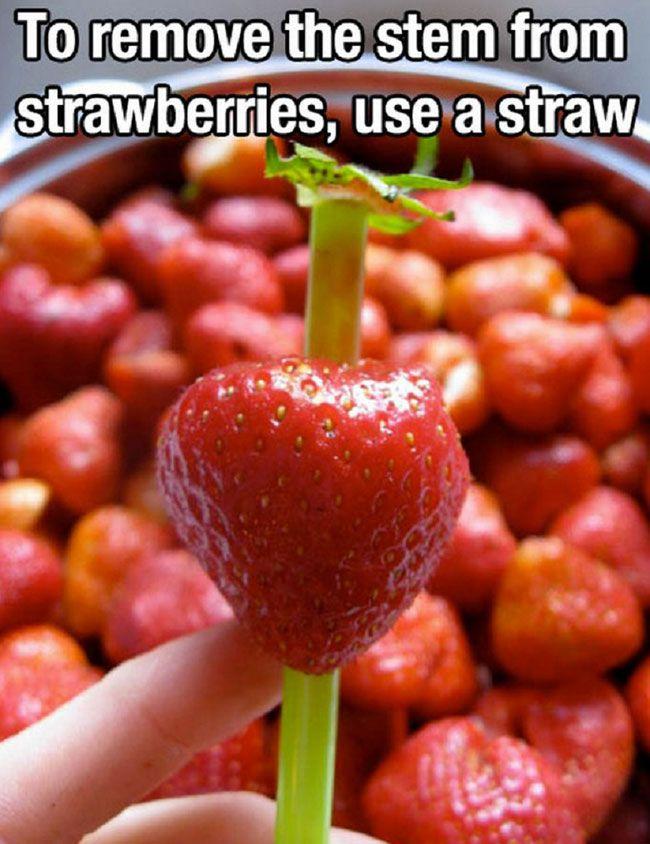 14.) Bye-bye, strawberry stems.