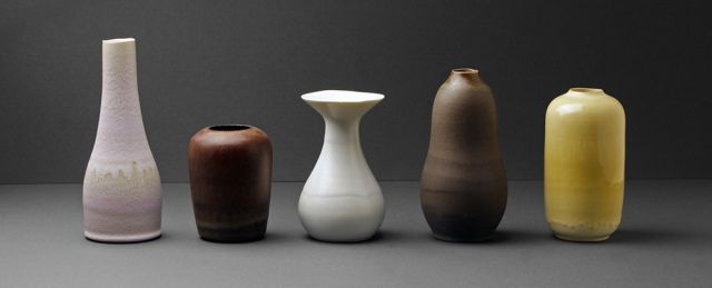 Serie of stoneware thrown by ceramicists Eric Landon and glazed by Karin Blach Nielsen