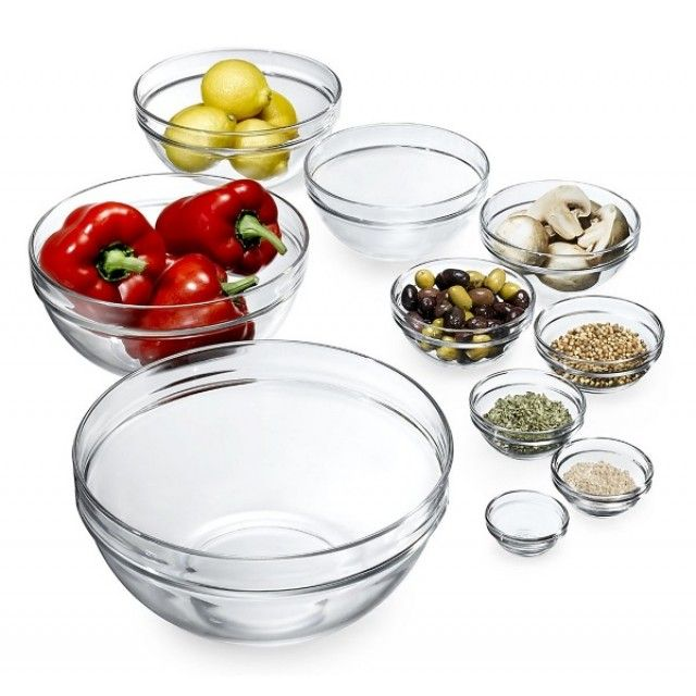 Luminarc Glass Stacking Storage Bowls with Lid, 20cm