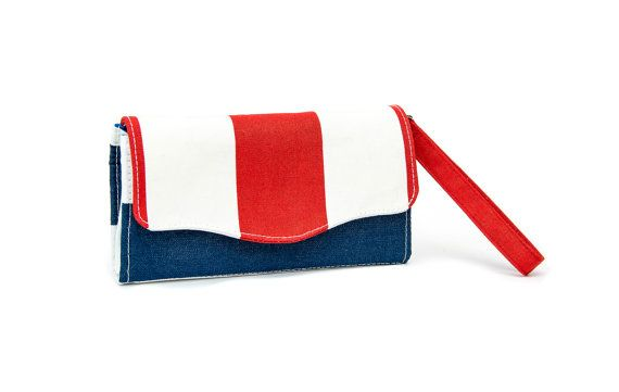 Accordion Wallet / Nautical / Cotton / 12 cards slots by VanKirsch
