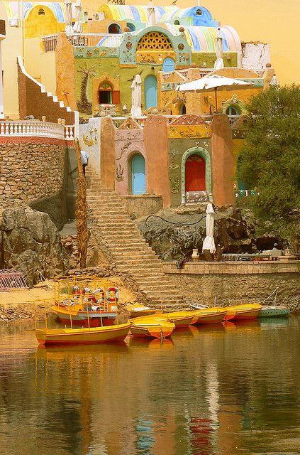 Nubian village on the banks of river Nile, Egypt