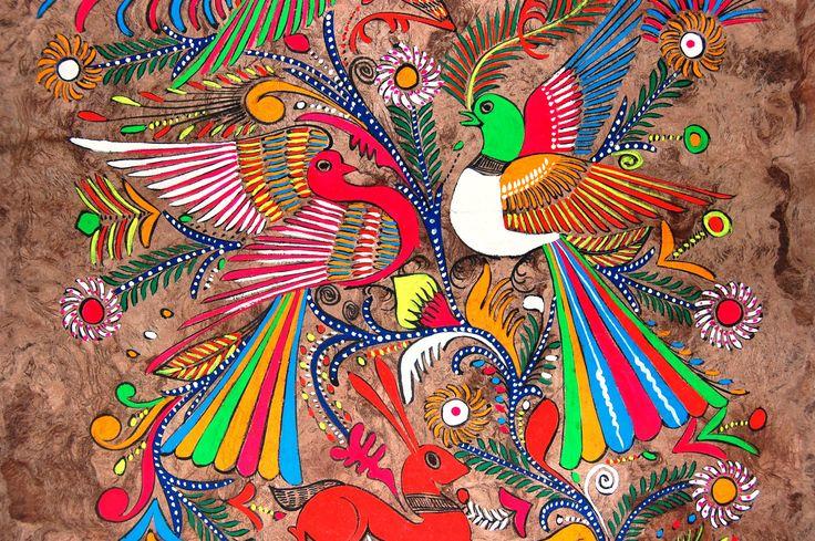 folk art painting vintage bark painting vibrant by NayaStudio