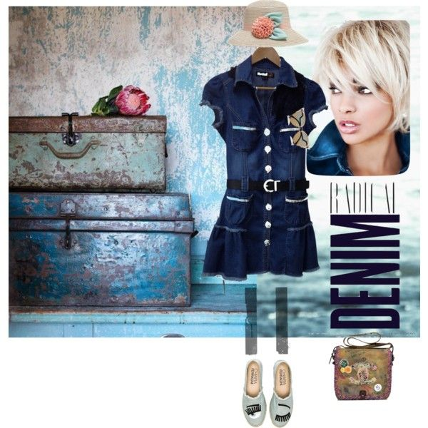 denim dressed 2 travel with a flower on top by diaparsons on Polyvore featuring Chiara Ferragni, Chanel, Fendi and Alima