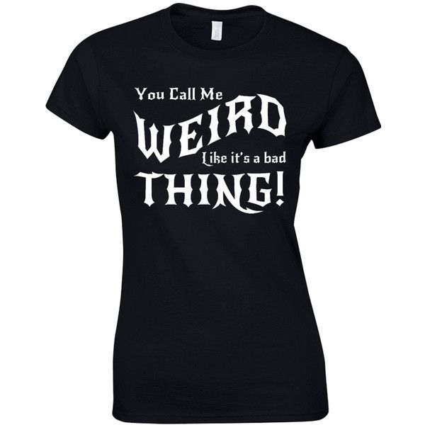 Weird Ladies T-Shirt Gothic Goth Punk Witch Witchcraft Emo Gift Kid Unique Design Ladies Cut (£13) found on Polyvore featuring tops, t-shirts, shirts, black, women's clothing, punk rock tees, goth shirt, black t shirt, goth t shirts and goth top