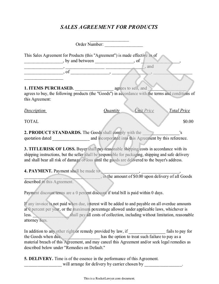 Sample Sales Agreement Form Template