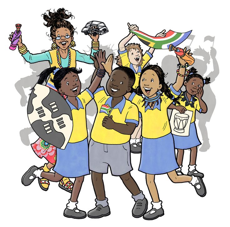 This is an illustraton from the Vuma Level 8 literacy series. This story is about being South African. #chantelleandburgenthorne #ourillustrations #childrensbook #illustration #published #education #reader
