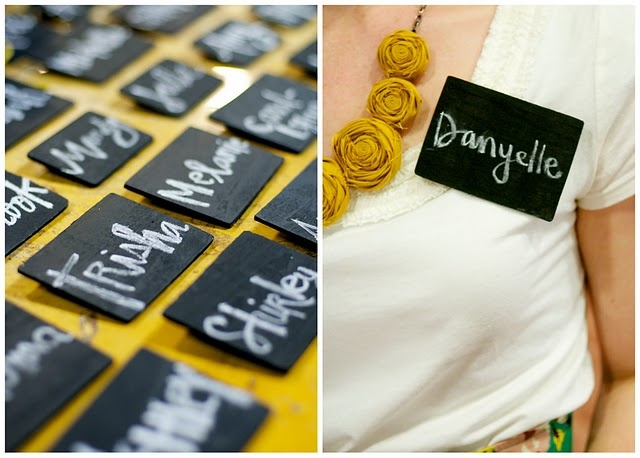 DIY chalkboard name tags: thin wood squares from craft store + chalkboard paint + pin hot-glued on back