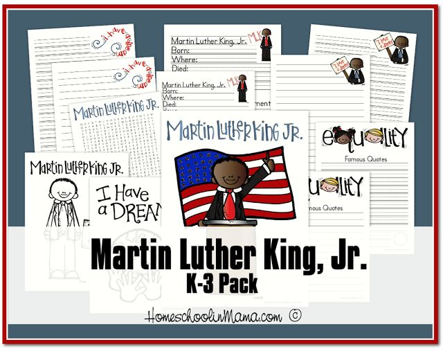 Martin Luther King K 3 Printables Only At HomeschoolinMama