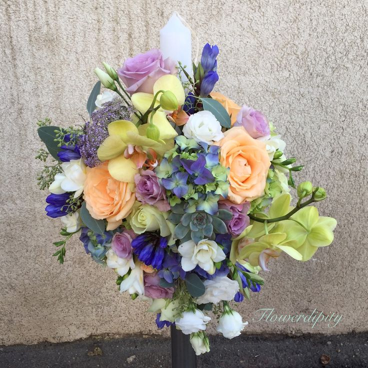 Colorful  #flowerdipity #colorful #candle #wedding #baptism #peach #blue #green #roses #orchid #echeveria