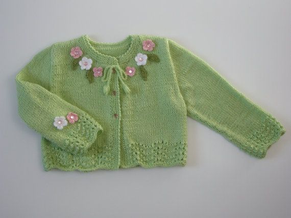 Hand knitted Baby Girl Cardigan/Sweater with by DesignsByValentina