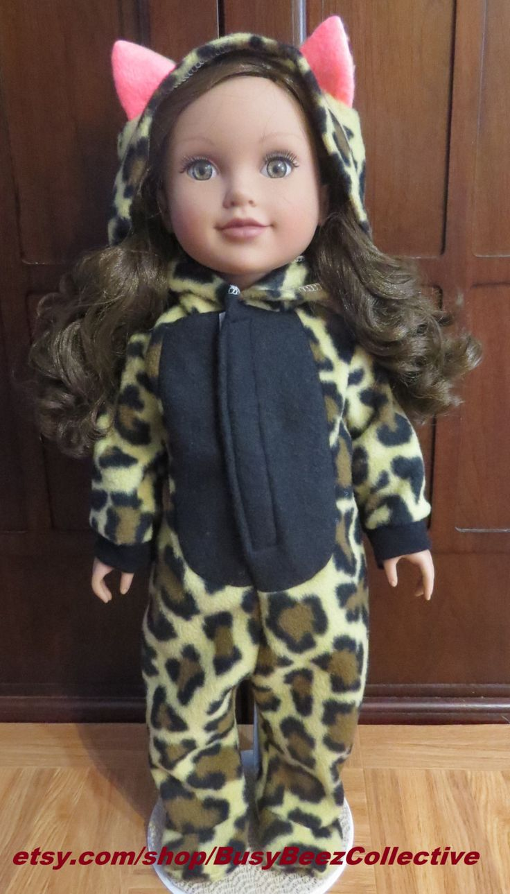 fleece footed pjs for 18 inch dolls,footed pjs,cheetah pjs,18 inch doll pajamas,handmade,18 inch doll pjs,winter pjs,fleece pjs,handmade pjs by BusyBeezCollective on Etsy