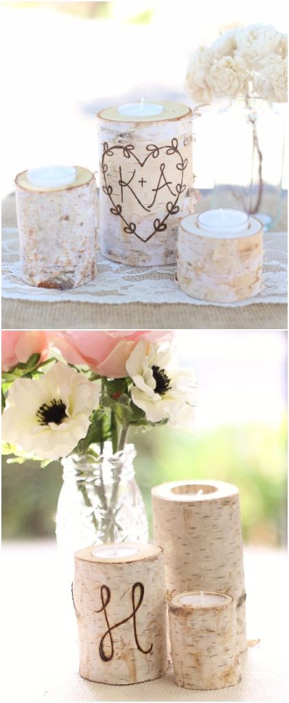 Rustic Country Wedding Ideas - Birch Wood Candle Holders