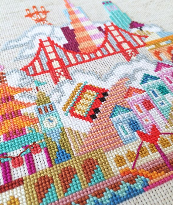Pretty Little San Francisco Modern Cross stitch by SatsumaStreet